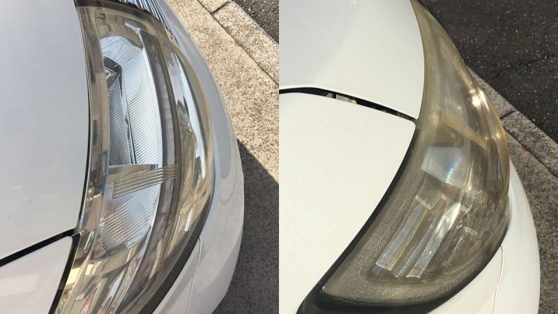 黄ばんだヘッドライトも新車の輝き!磨いてピカピカになったヘッドライトは、見た目も心も清々しくなるのでオススメ!